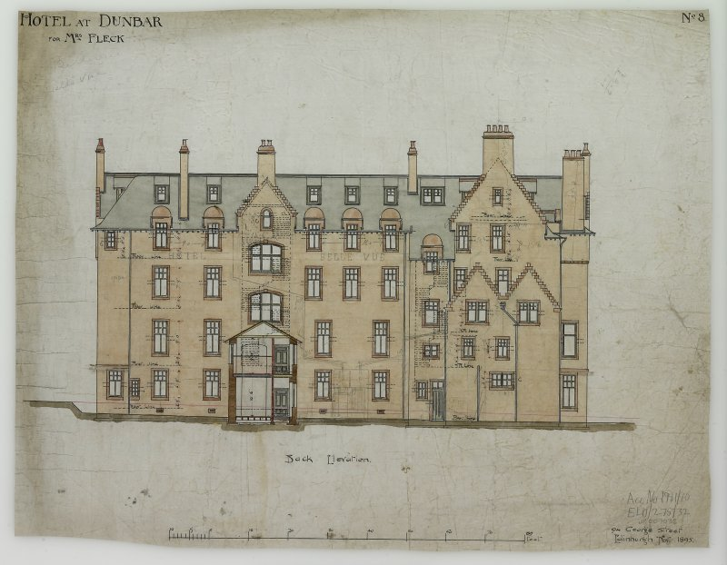 Digital image of drawing showing back elevation. Titled: 'Hotel At Dunbar For Mrs. Fleck'. Insc: 'No.8'.   '94 George Street   Edinburgh  Nov. 1895'.
