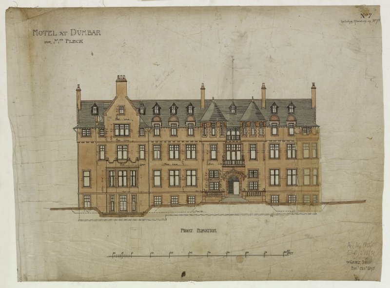 Digital image of drawing showing front elevation. Titled: 'Hotel At Dunbar For Mrs. Fleck'. Insc: 'No.7   Including Alteration On No.7A'.   '94 George Street   Edinr.  Novr. 1895'.