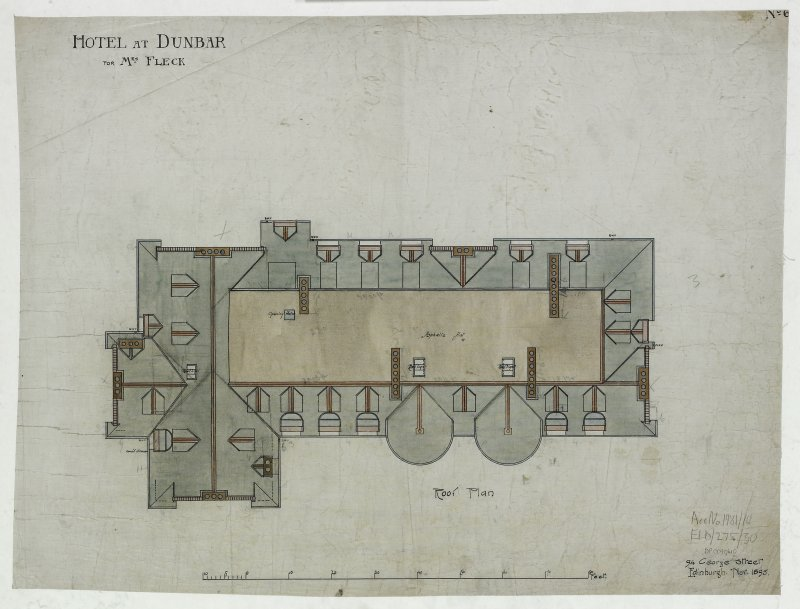 Digital image of drawing showing roof plan. Titled: 'Hotel At Dunbar For Mrs. Fleck'. Insc: 'No.6'.   '94 George Street   Edinburgh   Nov. 1895'.