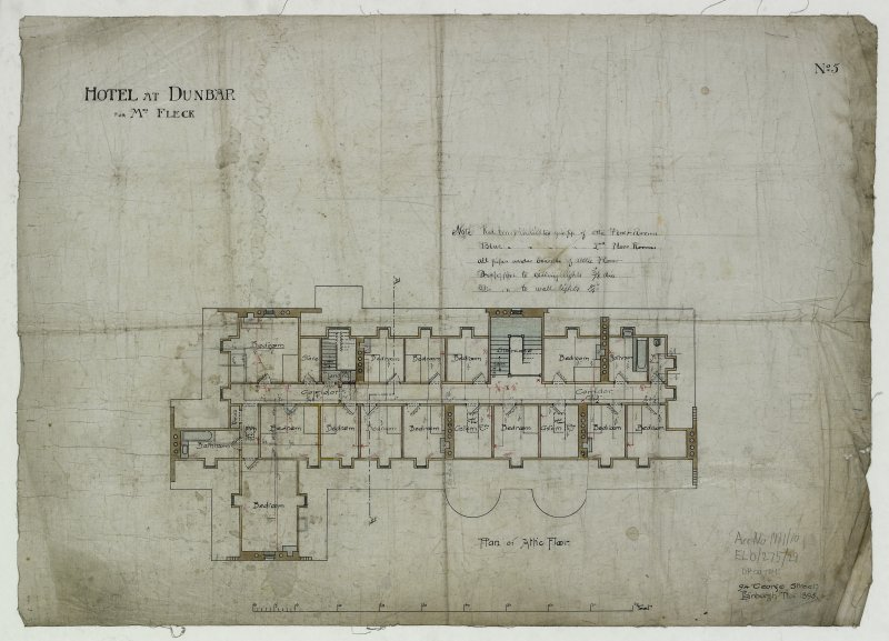 Digital image of drawing showing plan of attic floor. Titled: 'Hotel At Dunbar For Mrs. Fleck'. Insc: 'No.5'.   '94 George Street   Edinburgh   Nov. 1895'.