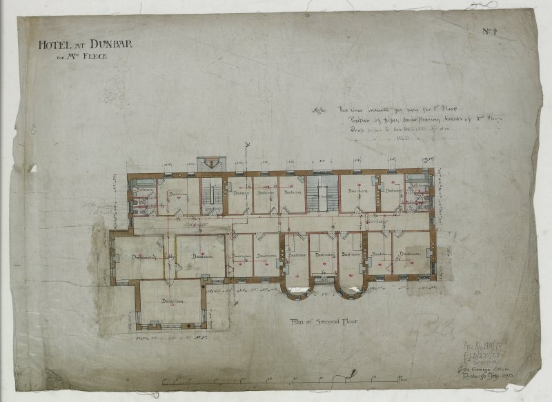 Digital image of drawing showing plan of second floor. Titled: 'Hotel At Dunbar For Mrs. Fleck'. Insc: 'No.4'.   '94 George Street   Edinburgh   Nov. 1895'.