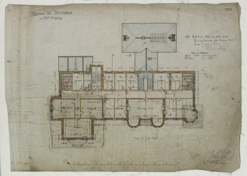 Digital image of drawing showing plan of first floor. Titled: 'Hotel At Dunbar For Mrs. Fleck'. Insc: 'No.3'.   '94 George Street   Edinburgh   Nov. 1895'.