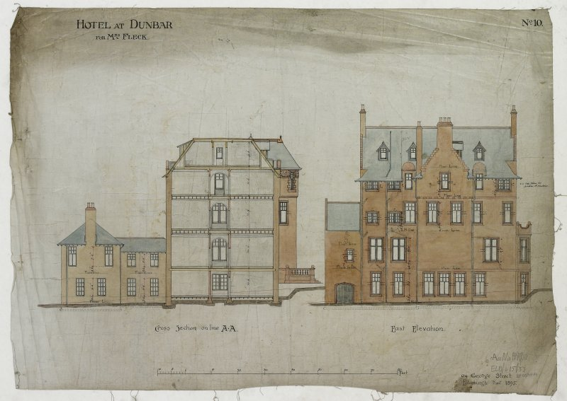 Digital image of drawing showing cross section and East elevation. Titled: 'Hotel At Dunbar For Mrs. Fleck'. Insc: 'No.10'.   '94 George Street   Edinburgh  Nov. 1895'.