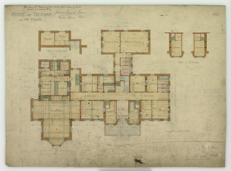 Digital image of drawing showing plan of ground floor, signed and annotated as approved by the Dean of Guild Court. Titled: 'Hotel At Dunbar For Mrs. Fleck'. Insc: 'No.2'.   '94 George Street   Edinburgh   July 1895'. Insc on verso: 'Edinburgh   January 1896   Subscribed with reference to contract between us'. Signed on verso: 'Helen Fleck'   'Peter Whyte'.