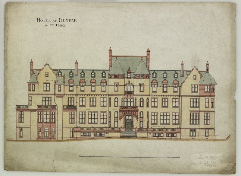 Digital image of drawing showing front elevation. Titled: 'Hotel At Dunbar For Mrs. Fleck'.