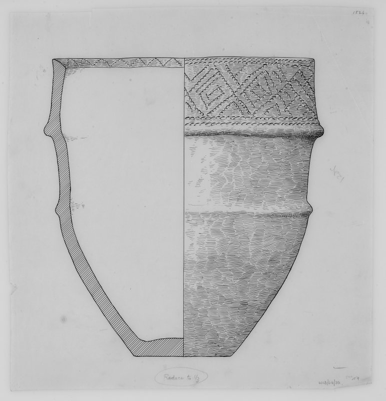 Drawing of Cinerary urn No.2 from period IV cairn enlargement at Cairnpapple Hill.