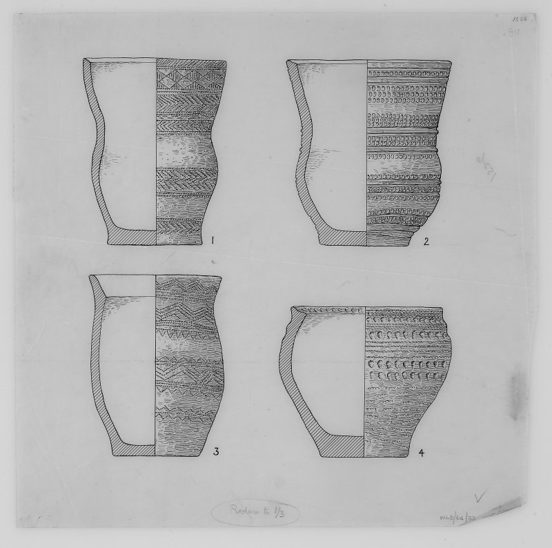 Drawings of prehistoric pottery found during excavations by Stuart Piggott at Cairnpapple Hill: Nos.1 and 2 Beakers from North grave (Period II); no.3 Beaker from grave by stone-hole 8; no.4 Food-vessle from Cist A (Period III).