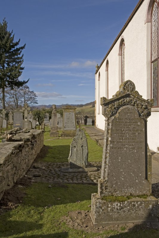 Churchyard. Pictish cross slab. Location view from SE