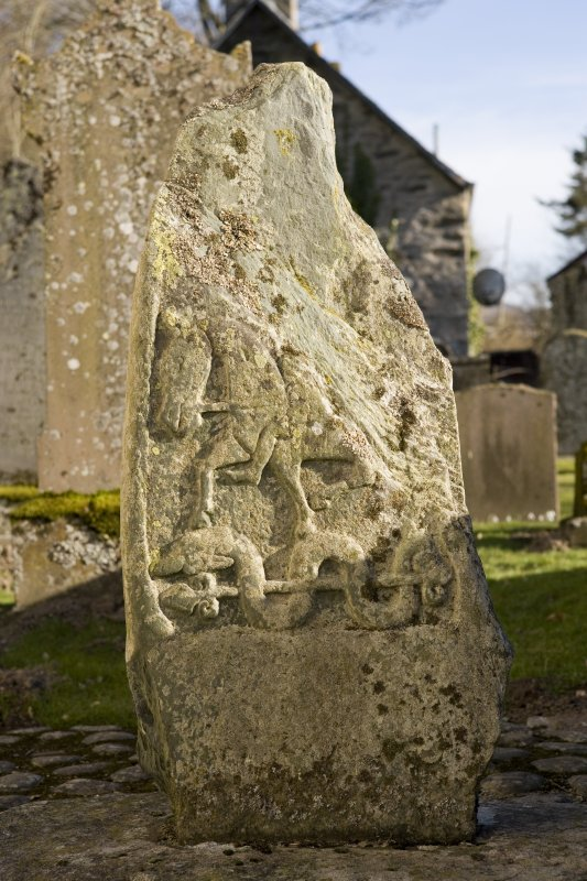 Churchyard. Pictish cross slab. NW Face.