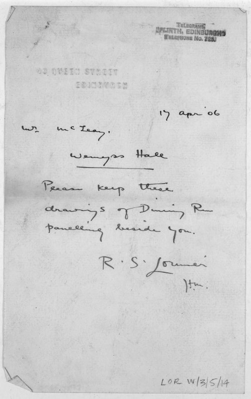 Digital copy of letter from R S Lorimer.