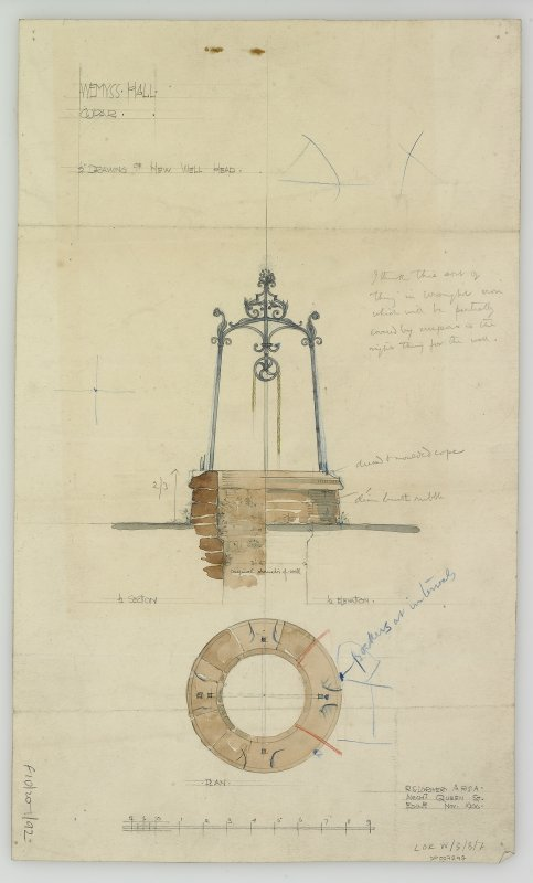 Digital image of drawing showing section and plan of well head.