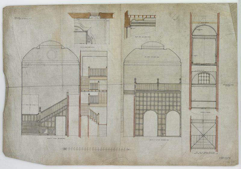 Digital image of drawing showing plans and sections of staircase, corridor and dining room ceiling.