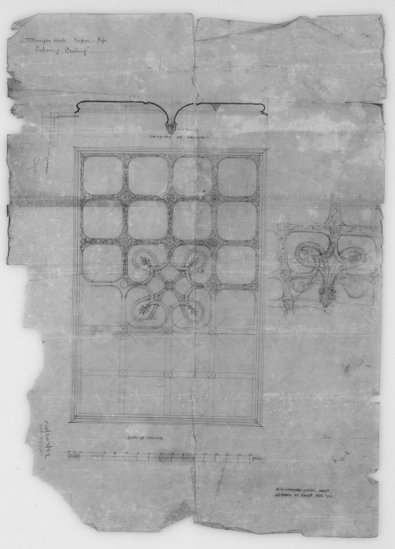 Digital image of drawing showing plan of library ceiling.