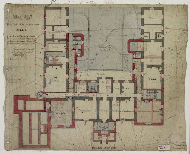 Additions and Alterations Sheet 1: Basement Floor Plan (Alexander Ross) 9 Union Street Inverness 1872