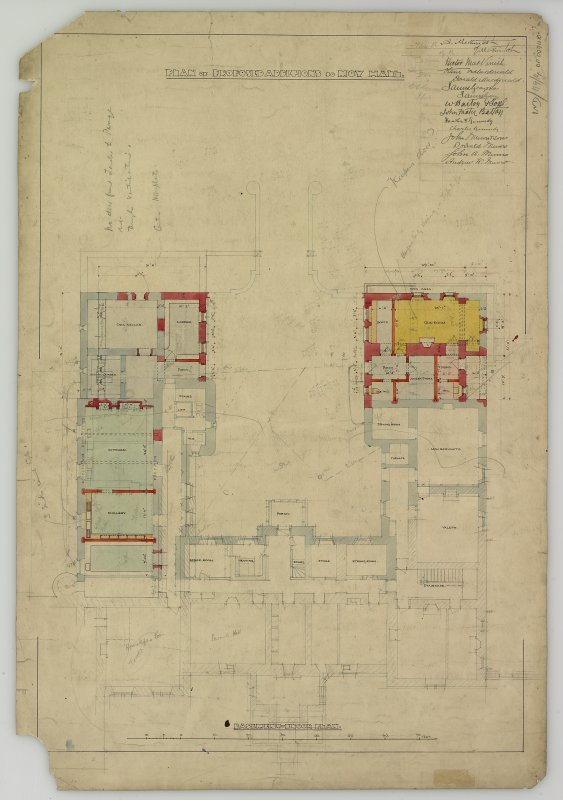 Drawing showing plan of basement floor. Titled: 'Plan of proposed additions to Moy Hall'.