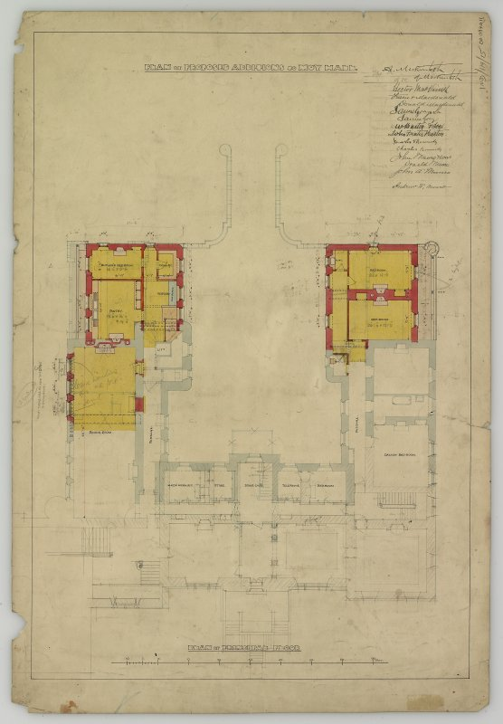 Drawing showing plan of principal floor. Titled: 'Plan of proposed additions to Moy Hall'.
