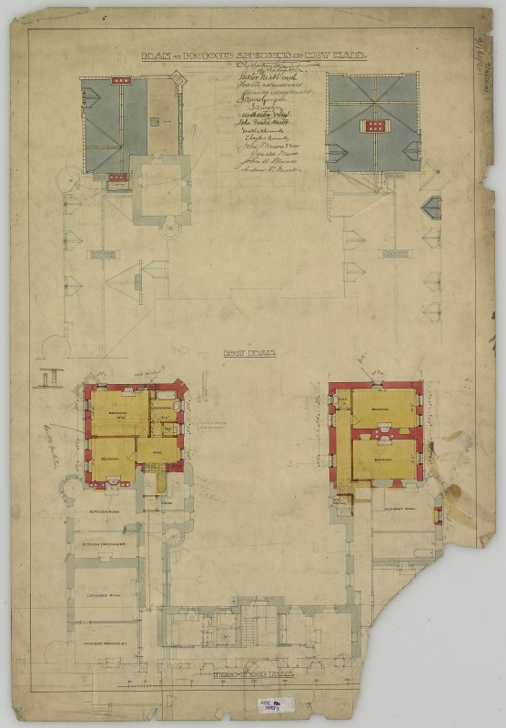 Drawing showing roof and first floor plans.  Titled: 'Plan of proposed additions to Moy Hall'.