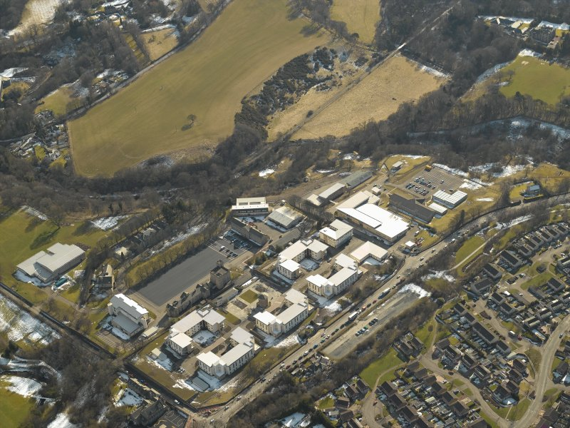 Oblique aerial view of the barracks, taken from the NE.
