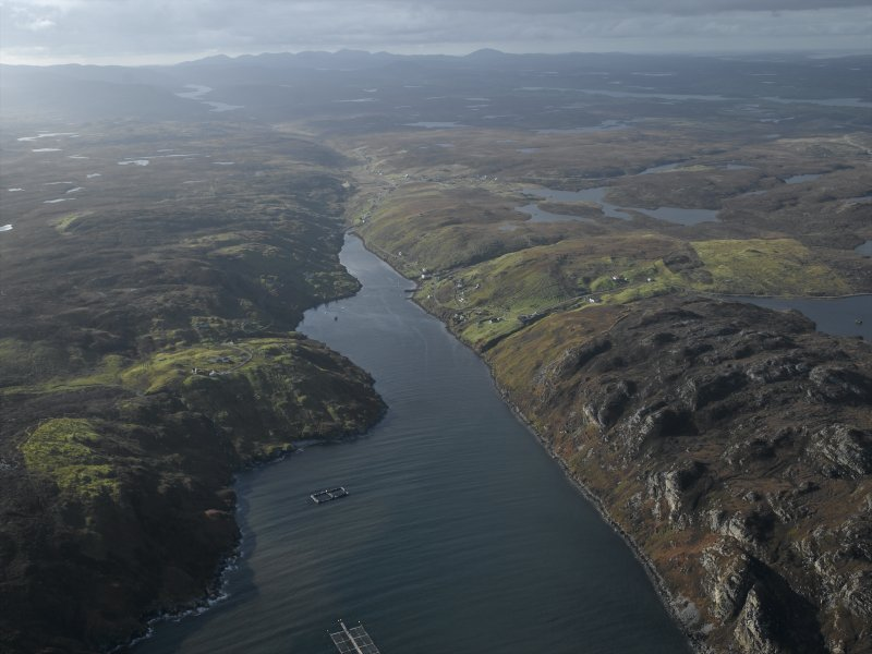 General oblique aerial view looking along Loch Odhairn with the townships adjacent, taken from the SE.