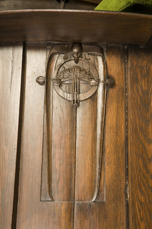 Interior. Detail of carved decoration on pulpit