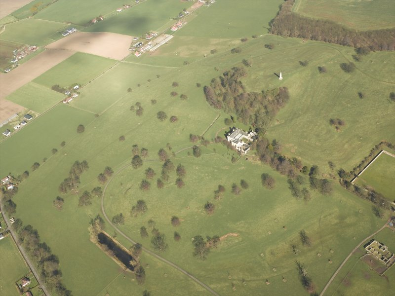 General oblique aerial view of the country house and policies, taken from the SW.