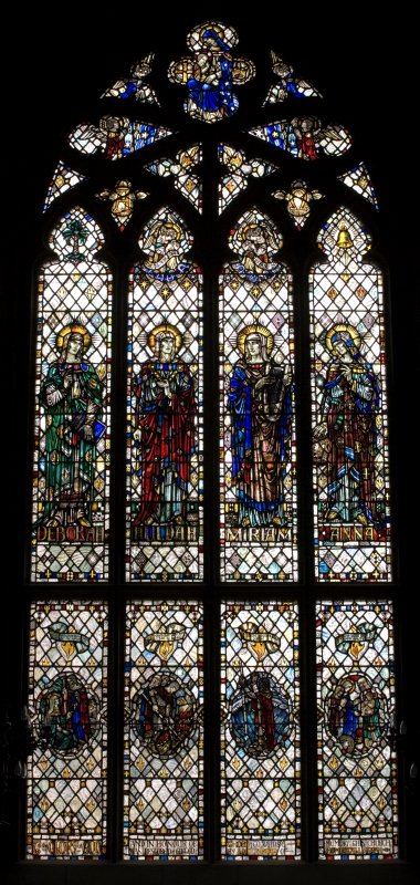 Interior. N Transept Stained glass window. Detail