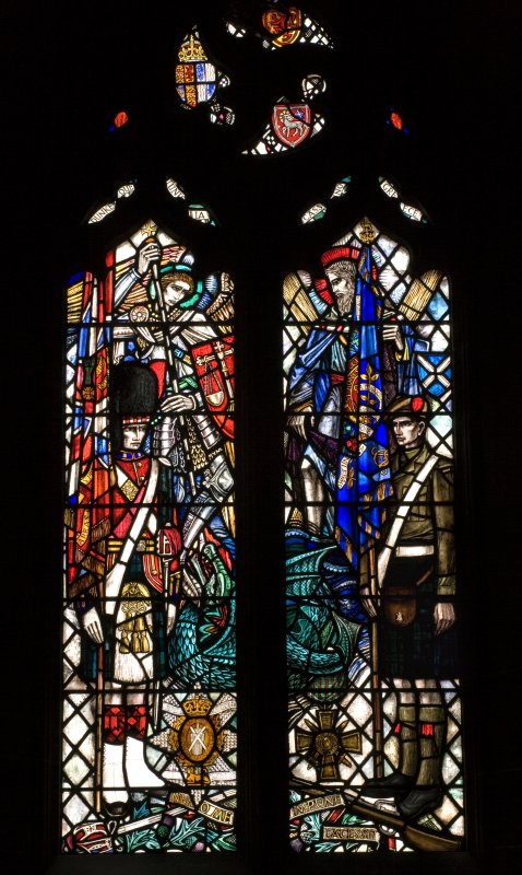 Interior of St John's Kirk. Nave. Black Watch memorial stained glass window. Detail