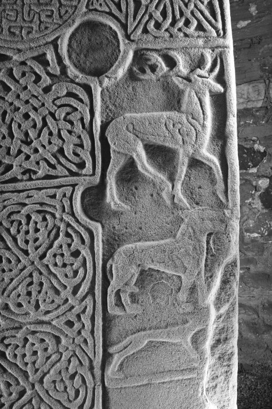 Face A. detail showing stag and hound (B&W)