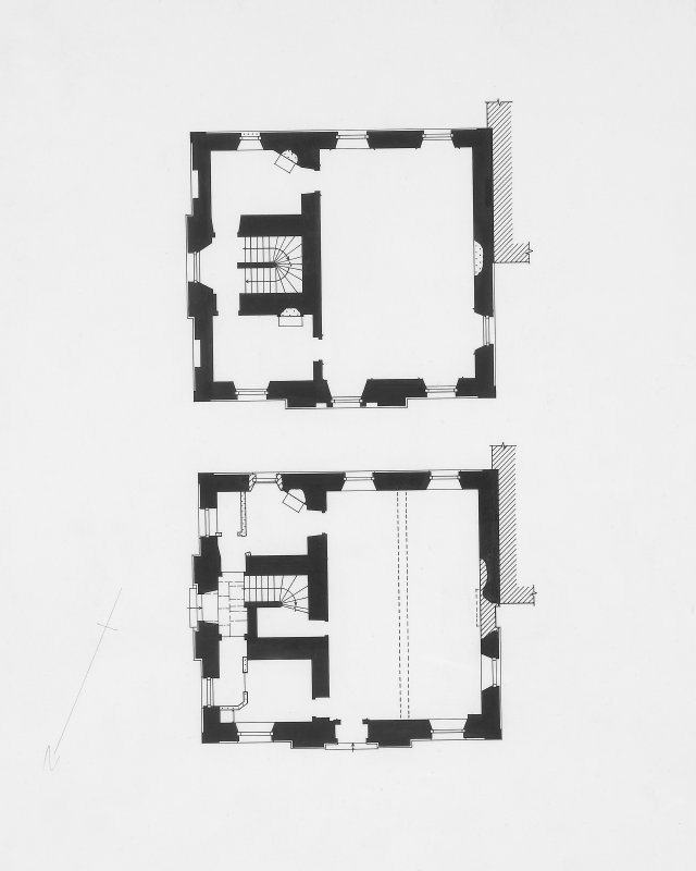 Digital image of drawing showing floor plans.