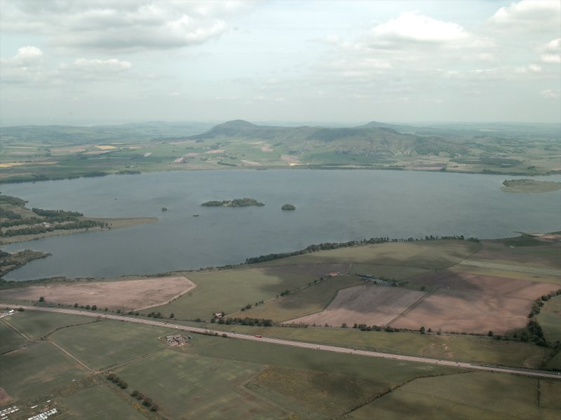 General oblique aerial view of Loch Leven lokking towards the Lomond Hills, taken from the WSW.