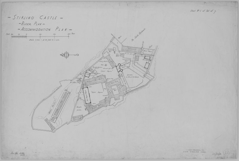 Block Plan. Insc: 'Stirling Castle - Block Plan - Accomodation Plan - ', 'Lieut Colonel R.E.  C.R.E. Highland Area.