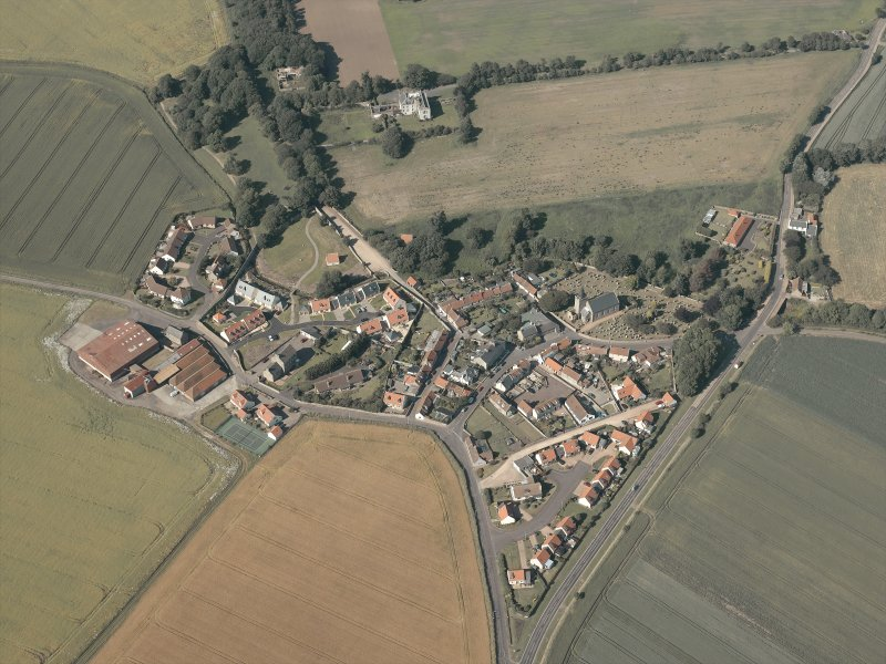 General oblique aerial view of the village, taken from the SSW.