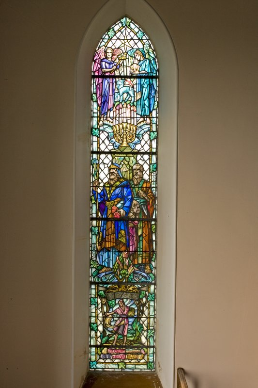Interior. NW Stained glass window. Detail