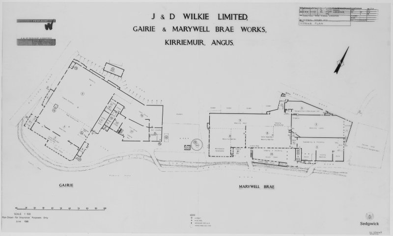 Digital image of drawing showing plan, drawn for insurance purposes Insc: ' 'J & D Wilkie Limited Gairie & Marywell Brae Works, Kirriemuir, Angus'