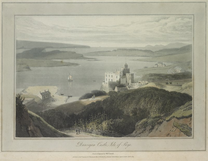 Skye, Dunvegan Castle. Coloured engraving showing view from South East.   Insc: 'Dunvegan Castle, Isle of Skye.  Drawn & Engraved by Willm Daniell. Published by Messrs Longman & Co. Paternoster Row & Willm Daniell of Cleveland Street, Fitzroy Square, London. April 1 1819.'