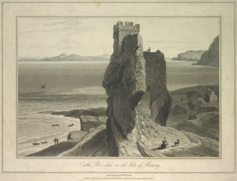 Engraving showing general view. Inscribed: 'Castle Broichin on the Isle of Raasay', 'Drawn & Engraved by Willm Daniell'.
