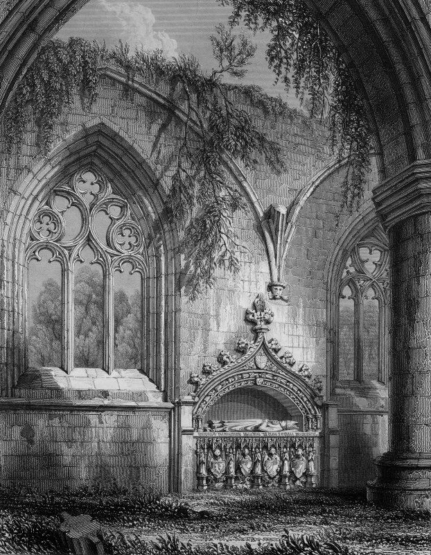 Dunkeld, Dunkeld Cathedral, interior. View of South aisle of nave, including Wolf of Badenoch's Tomb. Titled: 'Dunkeld Cathedral South Aisle of the Nave.' 'Drawn by R.W.Billings  Engraved by G.B.Smith  Edinburgh Published by William Blackwood & Sons'