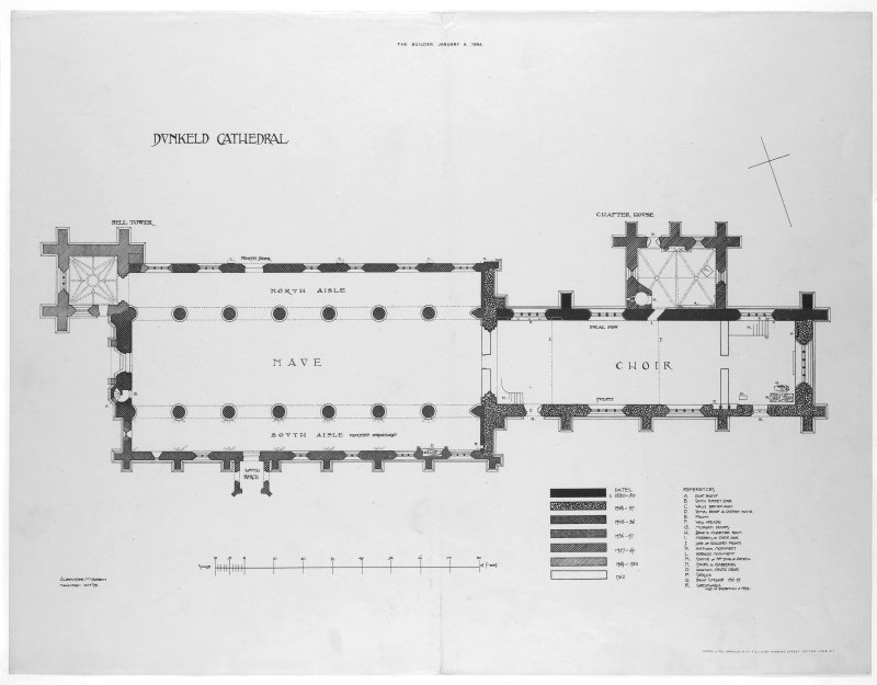 Dunkeld, Dunkeld Cathedral. Ground plan showing building dates.