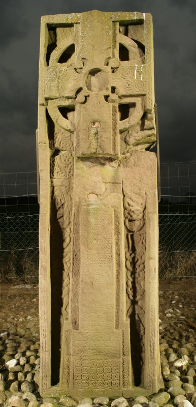 View of front face of slab with full length cross and interlace decoration