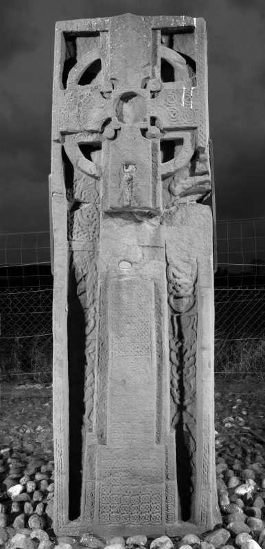View of front face of slab with full length cross and interlace decoration (B&W)