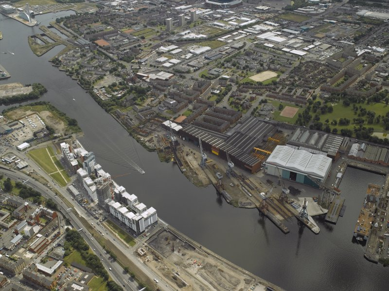Oblique aerial view of the docks and ship yard, taken from the NNW.