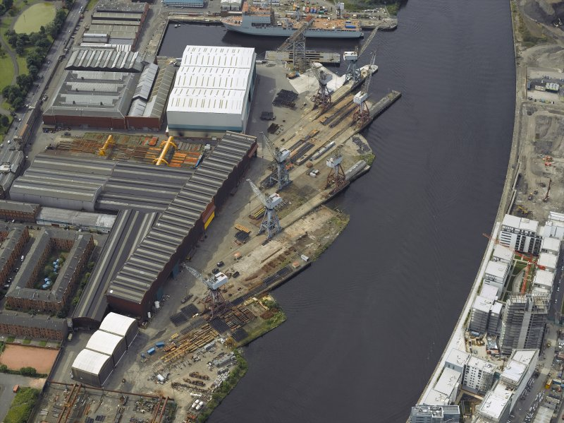 Oblique aerial view of the ship yard, taken from the E.