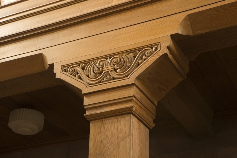 Interior. Detail of carved wooden column capital