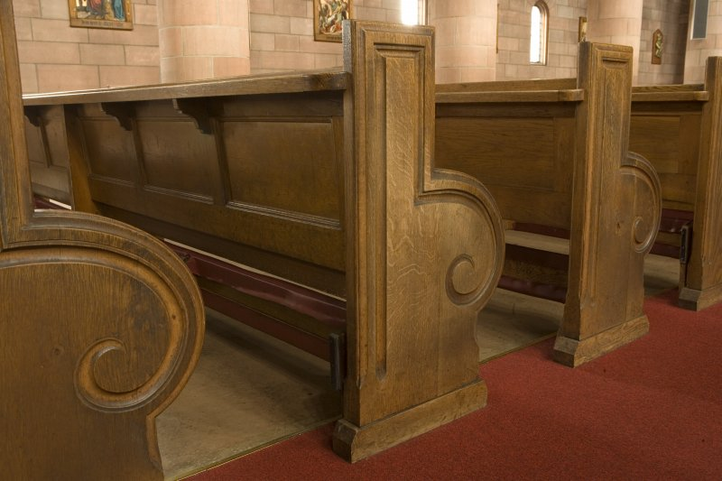 Interior. Detail of pews