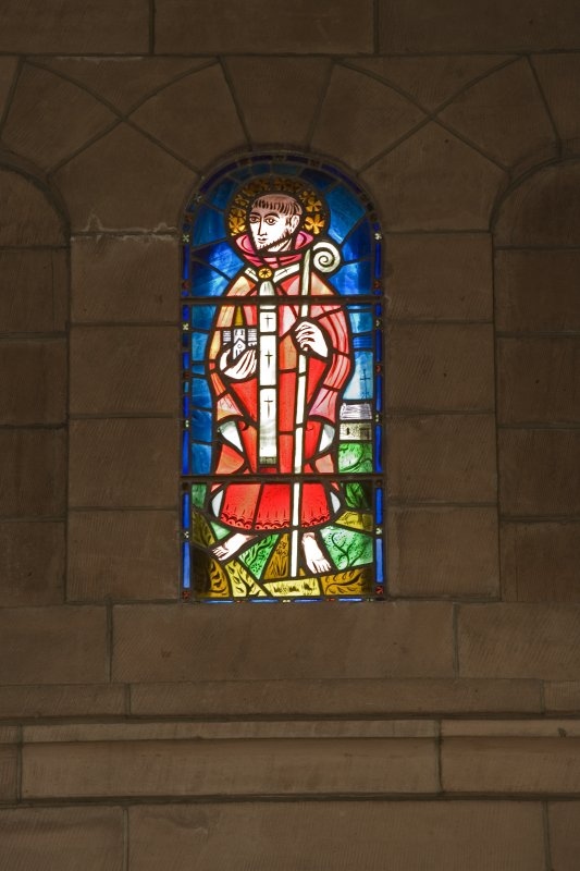Interior. Chancel, detail of stained glass