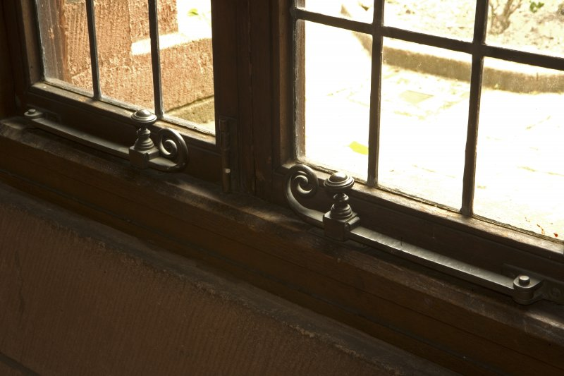 Interior. Corridor to N of cloister, detail of window catches