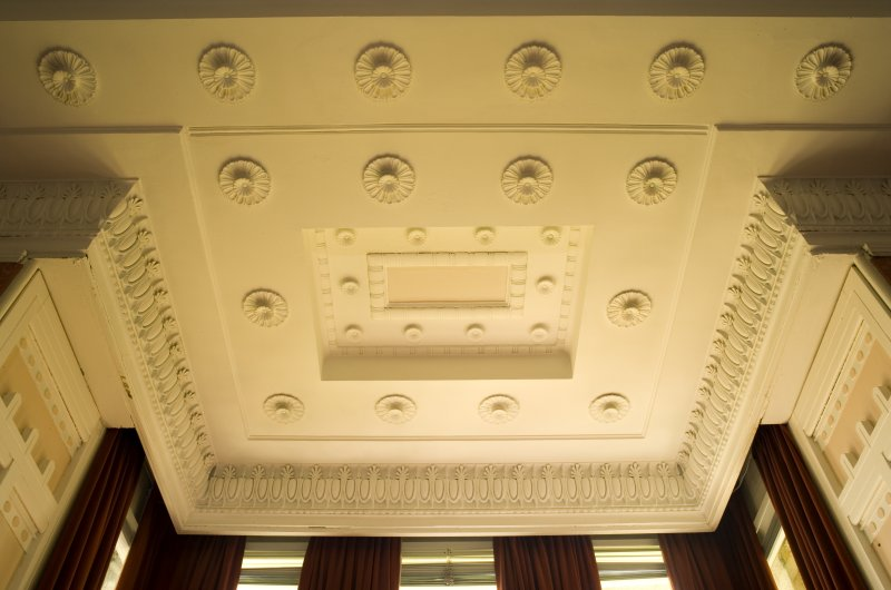 Interior. Ground floor, drawing room, detail of ceiling above bay window