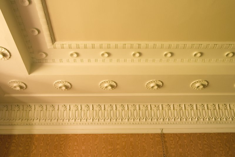 Interior. Ground floor, drawing room, detail of cornice