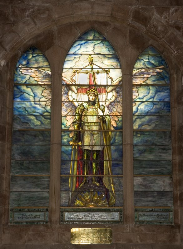 Interior. View of St Michael stained glass  E window by  Louis Tiffany in memory of Percy Forbes Leith 1900