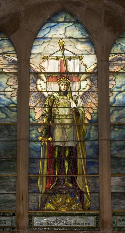 View of East stained glass window, showing St Michael by Louis Tiffany in memory of Percy Forbes Leith 1900, at St Peter's Church, Fyvie.